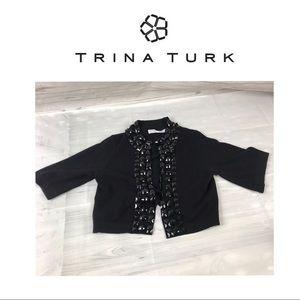 Trina Turk Black Short Sweater. Sz S